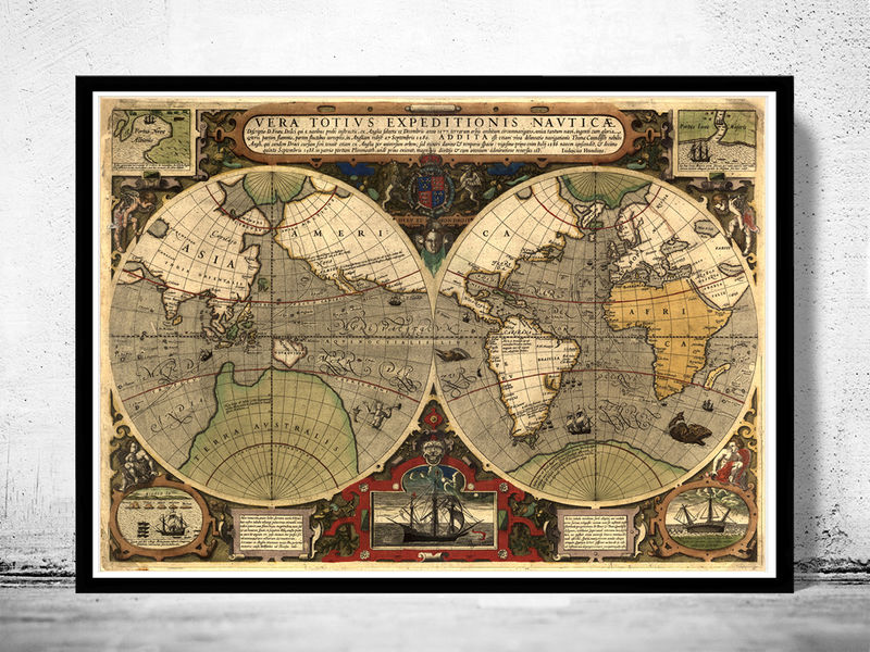Old world map antique 1595 old maps and vintage prints old world map antique 1595 product image gumiabroncs Image collections