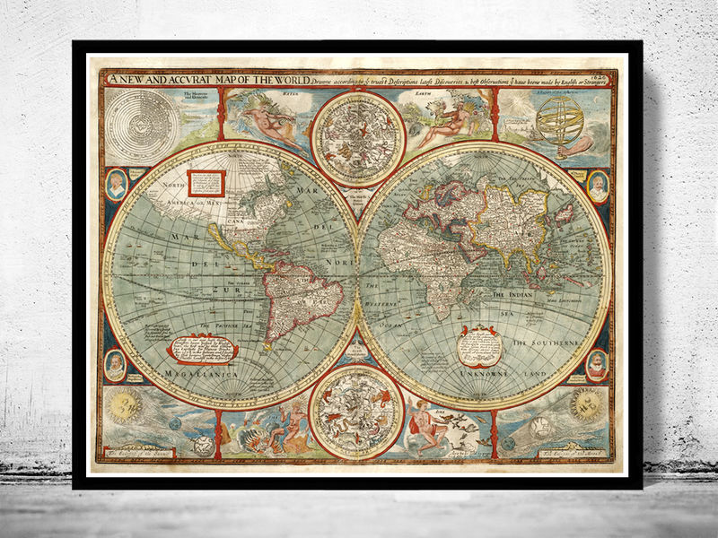 Old world map 1627 two hemispheres old maps and vintage prints gumiabroncs Image collections