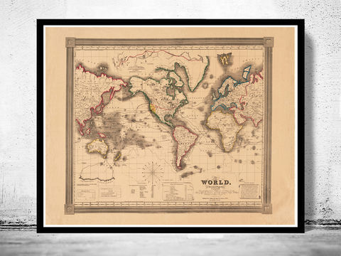 Old,World,Map,Atlas,Vintage,1850,Mercator,projection,Art,Reproduction,Open_Edition,World_map,old_map,antique,atlas,discoveries,explorations,vintage_poster,city_plan,earth_atlas,map_of_the_world,world_map_poster,old_world,vintage_world_map