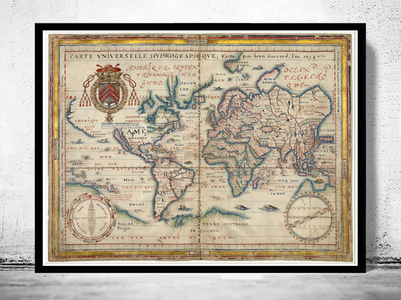 World map antique 1634 old maps and vintage prints world map antique 1634 product image gumiabroncs Image collections