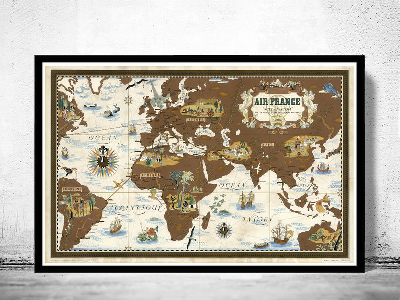 world map air france poster old maps and vintage prints. Black Bedroom Furniture Sets. Home Design Ideas