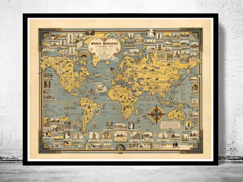 Old,World,Map,Wonders,Vintage,Poster,(2),world wonders, world map, vintage world map, old world map, vintage look map, maps and atlases