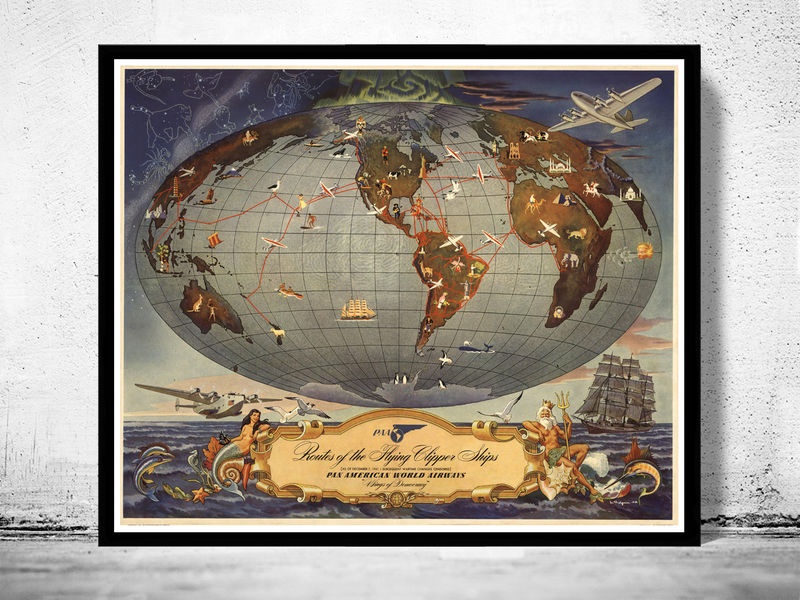 Old World Map Pan American Airlines Vintage Poster OLD MAPS AND VINTAGE PRINTS