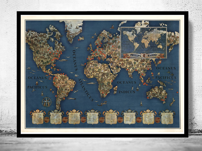 Marvellous world map philips radio mercator projection old maps marvellous world map philips radio mercator projection product image gumiabroncs Gallery