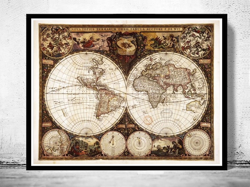 Old world map antique 1660 old maps and vintage prints old world map antique 1660 product image gumiabroncs Image collections