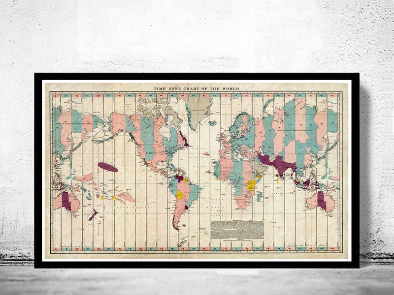 Old World Map Atlas Time Zone Chart - OLD MAPS AND VINTAGE PRINTS