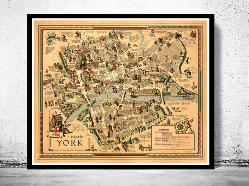 Old Map Of York City History Map United Kingdom OLD MAPS AND - Antique maps for sale uk