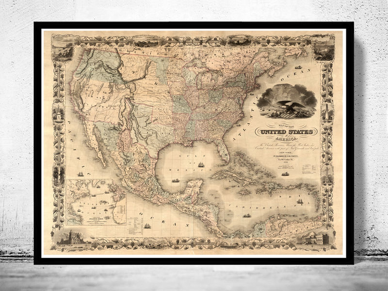 Antique Map Of United States 1850 Old Maps And Vintage Prints
