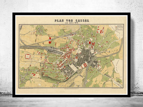Old,Map,of,Kassel,Cassel,Germany,Deutshland,1878,kassel map, map of kassel,Art,Reproduction,Open_Edition,vintage,illustration,gravure,vintage_map,city_plan,germany,cassel,kassel,deutshland,old_map,city_map