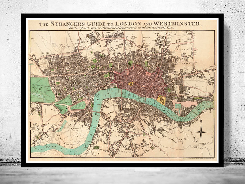 Old London And Westminster Map OLD MAPS AND VINTAGE PRINTS - Old map shop london