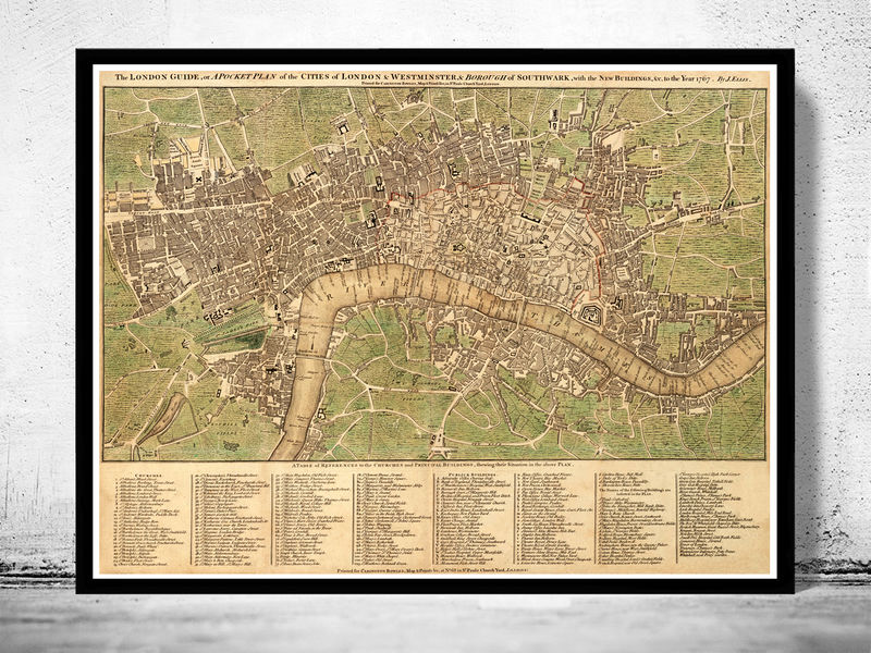 Old London and Westminster Map 1767 OLD MAPS AND VINTAGE PRINTS
