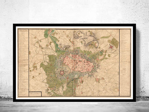 Old,Map,of,Lille,France,1717,old map of lille, lille france , lille plan, map of lille france, old maps, old maps reproductions, old maps for sale