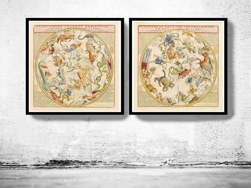 old planisphere celeste meridional and septentrional 1775 old maps and vintage prints. Black Bedroom Furniture Sets. Home Design Ideas