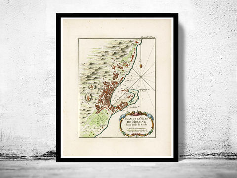Old,Map,of,Messina,1764,Sicily,Italy,Art,Reproduction,messina, messina map, map of messina, messina gravure, messina poster