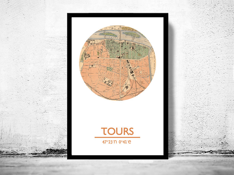 Tours city poster city map poster print old maps and vintage tours city poster city map poster print product image gumiabroncs Image collections
