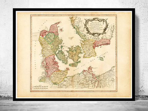 Old,Map,of,Denmark,Danmark,Danemark,1750,danmark, denmark, denmark poster, denmark map, map of denmark, vintage map, old map, cartography, danemark map, map of danemark