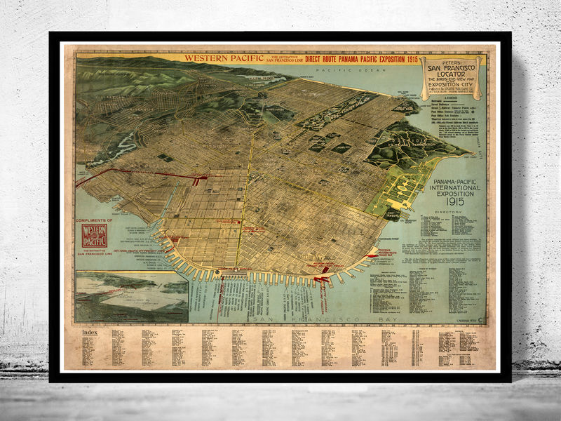 Old san francisco panoramic view 1915 old maps and vintage prints gumiabroncs Gallery