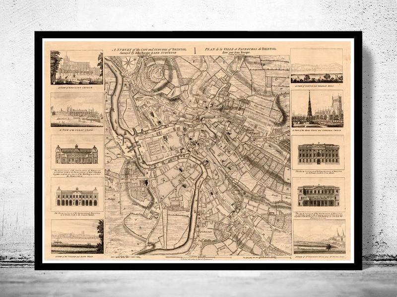 Old Map Of Bristol UK OLD MAPS AND VINTAGE PRINTS - Vintage maps uk