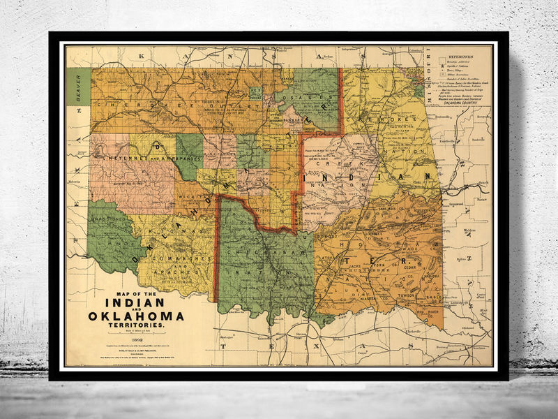 Old Map of Oklahoma Indian Territory 1892 OLD MAPS AND VINTAGE