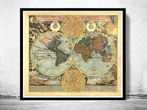 Old,World,Map,Antique,1716,Art,Reproduction,Open_Edition,vintage,World_map,old_map,antique,atlas,world_atlas,vintage_map,hemisphere,old_world_map,medieval,engraving,map_of_the_world
