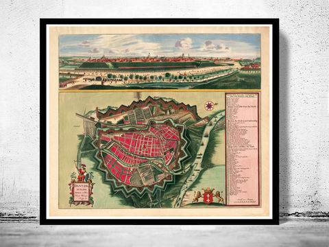 Old,Map,of,Gdansk,Danzig,Poland,1687,Art,Reproduction,Open_Edition,city,vintage,illustration,gravure,vintage_map,city_plan,poland,old_map,vintage_poster,gdansk,poldand_poster,gdansk_poland