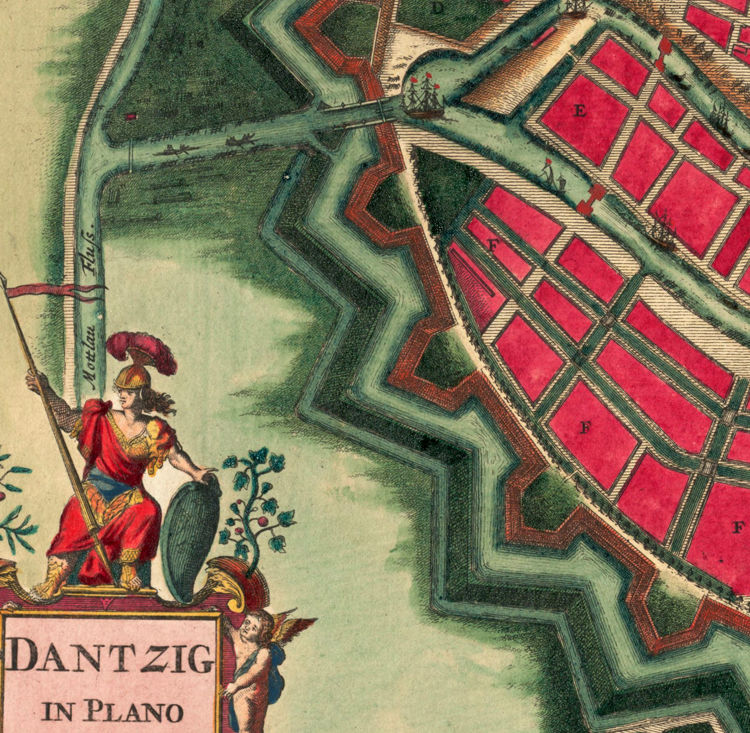 Old Map of Gdansk Danzig Poland 1687 OLD MAPS AND VINTAGE PRINTS