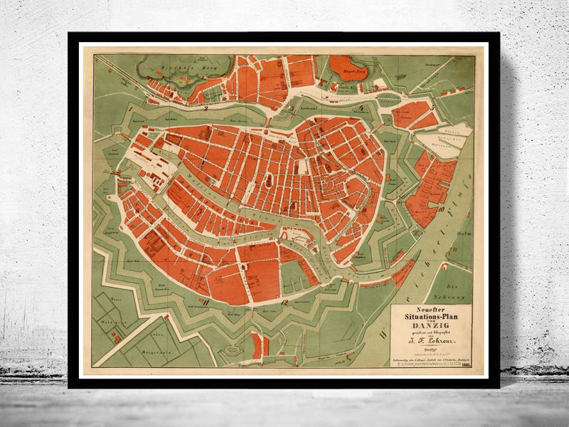 Old Map of Gdansk Danzig Poland 1883 OLD MAPS AND VINTAGE PRINTS