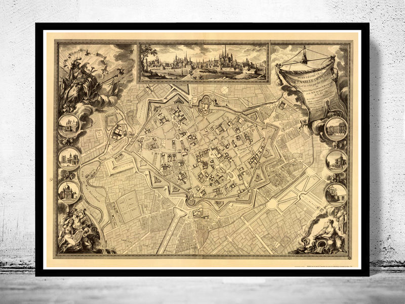 Old Map Of Dijon OLD MAPS AND VINTAGE PRINTS - Retro world map poster