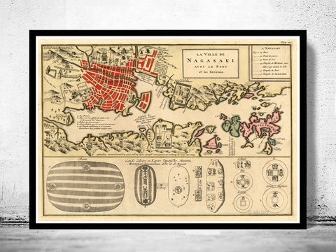 Old,Map,of,Nagasaki,1750,Japan,Art,Reproduction,Open_Edition,nagasaki, nagasaki japan, nagasaki map, map of nagasaki, nagasaki plan, nagasaki poster, japan map, japanese art