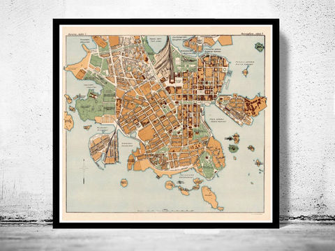 Old,map,of,Helsinki,1928,helsinki, finland, helsinki map, helsinki poster, old map of helsinki