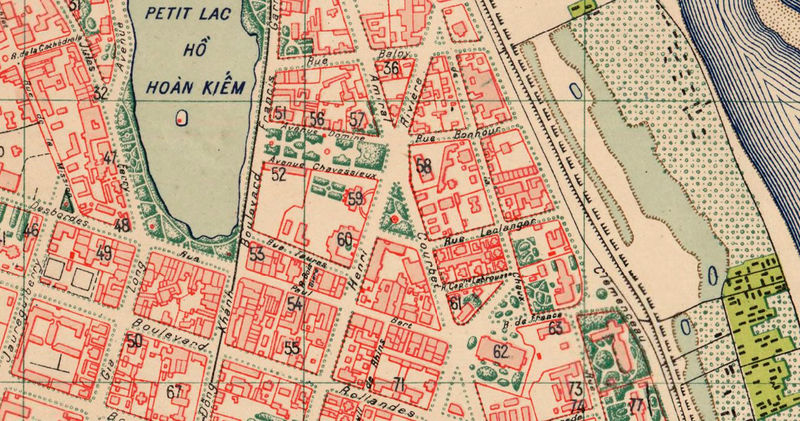 Old Map of Hanoi Vietnam 1929 - OLD MAPS AND VINTAGE PRINTS