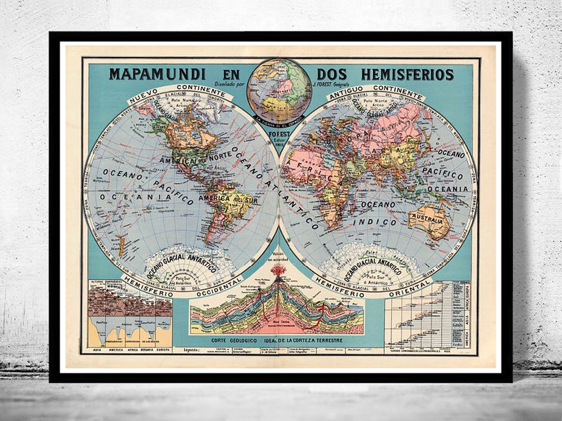 Old World Map 1929 Two Hemispheres - OLD MAPS AND VINTAGE PRINTS