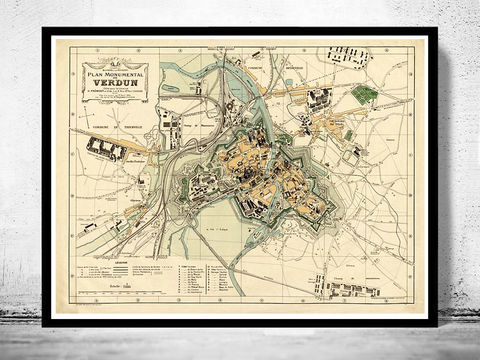 Old,Map,of,Verdun,France,1924,Art,Reproduction,Open_Edition,vintage,gravure,vintage_map,verdun, verdun france, verdun map, verdun print, verdun poster