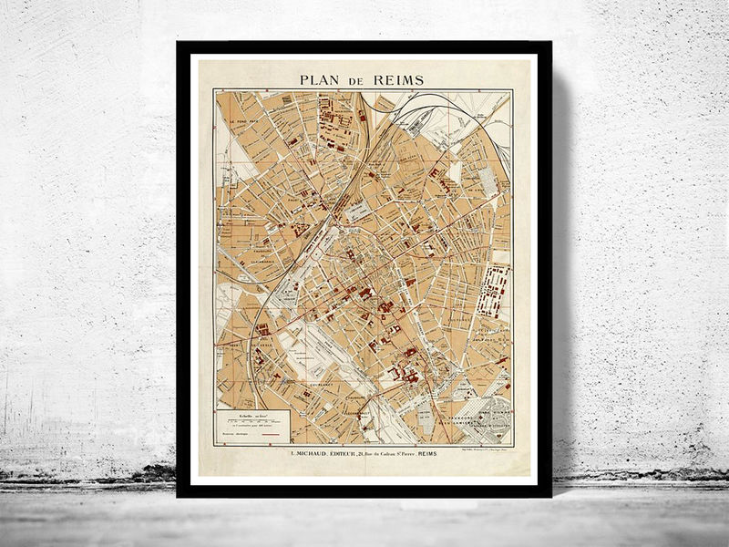 Old Map of Reims France 1926 - OLD MAPS AND VINTAGE PRINTS