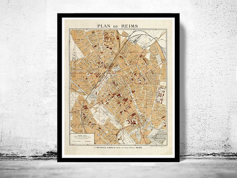 Old,Map,of,Reims,France,1926,Art,Reproduction,Open_Edition,vintage,gravure,vintage_map,reims, reims france, reims map, reims print, reims poster