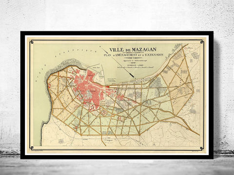 Old,Map,of,Mazagan,Morocco,1916,mazagan, mazagan morocco, map of mazagan, mazagan map, mazagan poster, mazagan print