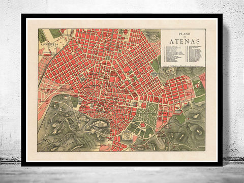 Old,Map,of,Athens,Greece,1900,athens, map of athens, athens greece, greece map, greek art, athens poster, antique print, antique map