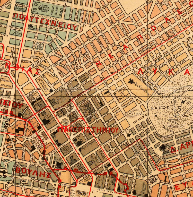 Old Map of Athens Greece 1923 - OLD MAPS AND VINTAGE PRINTS Map Of Athens Greece on