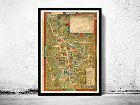 Old,Map,of,Cambridge,1574,United,Kingdom,cambridge map, map of cambridge, cambridge poster, cambridge uk, old maps,vintage maps, antique map,cyprus poster, antique print