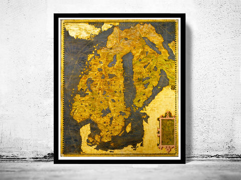 Old,Map,of,Norway,Sweden,Scandinavia,Antique,Norwegen,1565,Art,Reproduction,Open_Edition,vintage,old_map,antique,atlas,illustration,sweden,norway,scandinavia,1529,finland,sweden_map,norway_map,scandinavia_map