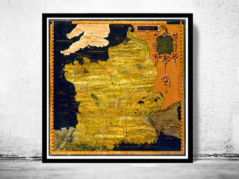 Old,Map,of,France,1576,Antique,map,historical map  , vintage map  , vintage poster , map of france , france  , old map france , france poster , france vintage , france country map , paris vintage  , antique france  , french art  , french