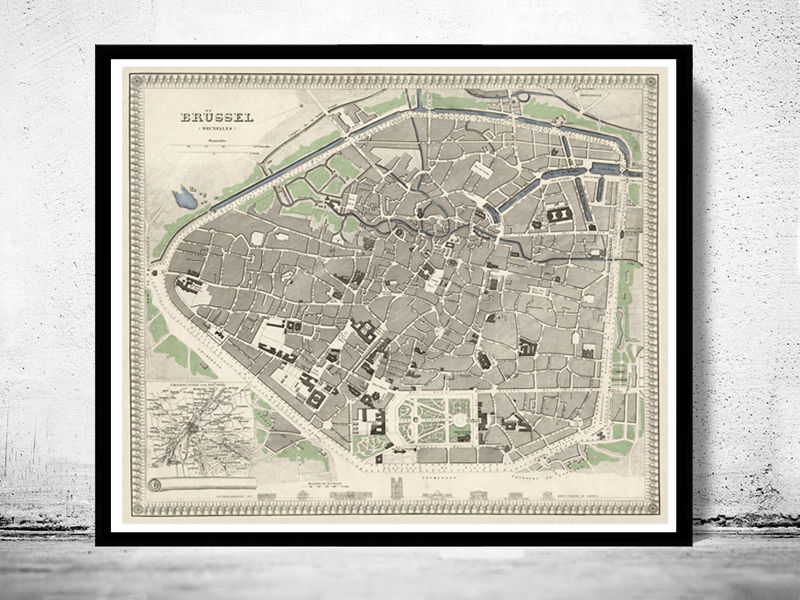 Old Vintage Map of Brussels Bruxelles, Belgium 1860 - OLD MAPS AND ...