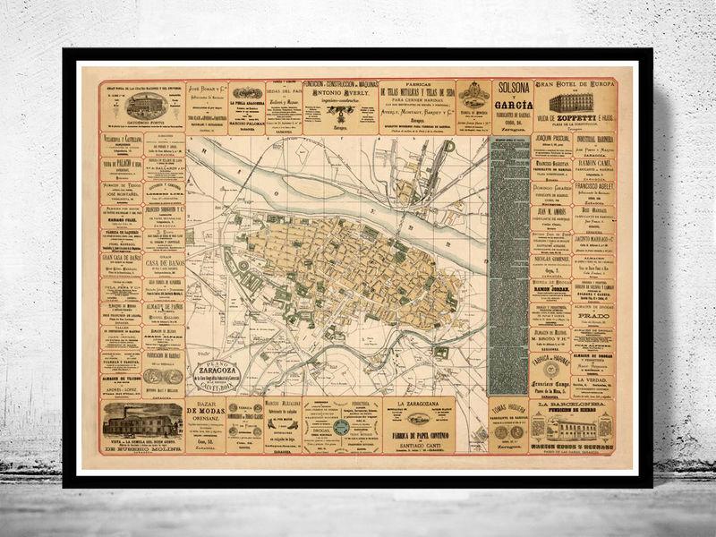 Old Map of Zaragoza Saragossa Spain 1883 Vintage map   OLD MAPS