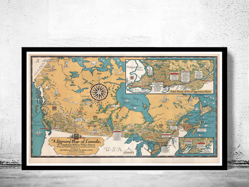 Old map of canada antique north america 1936 vintage old maps and old map of canada antique north america 1936 vintage product image gumiabroncs Images