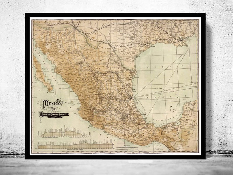 Old Map of Mexico 1910  - product image