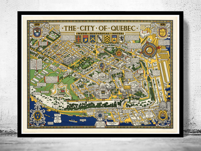 Old Map Of Quebec City Canada Pictorial Map OLD MAPS AND VINTAGE - Old map of canada
