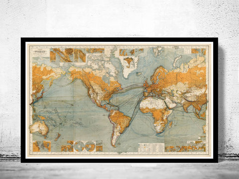 Great,Vintage,World,Map,in,1875,world map, map of the world, atlas of the world, world maps for sale, vintage map of the world