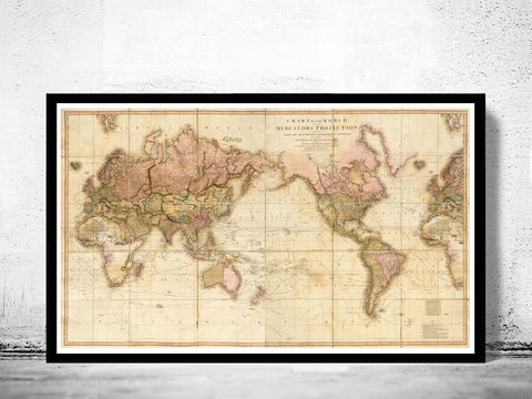 Great,Vintage,World,Map,in,1819,world map, map of the world, atlas of the world, world maps for sale, vintage map of the world