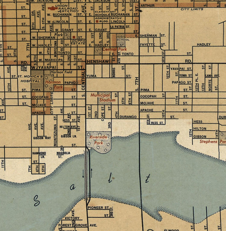 Old map of Phoenix Arizona - OLD MAPS AND VINTAGE PRINTS