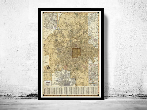 Old,Map,of,Atlanta,GA,atlanta city, atlanta poster, atlanta map, map of atlanta, atlanta decor, vintage atlanta